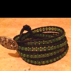 Black & Green Aventurine Leather Wrap