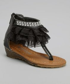 Love this Black Diamond Ruffle Wedge Sandal by Ameta Corporation on #zulily! #zulilyfinds