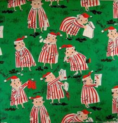 VTG CHRISTMAS WRAPPING PAPER GIFT WRAP MID CENTURY DAD PRESENTS