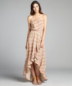 style #322446901 apricot printed jersey strapless high-low wrap maxi dress  $59 - Always move like you're walking down a cat walk.