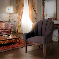 Elegant Design Purple Fabric Upholstered Accent Armchair w Carved Legs | eBay