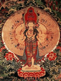 Tibetan Buddhist Thangka of 1,000 Arms Chenrezig ~ Om Mani Padme Hum