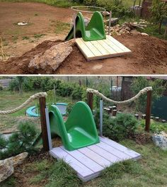 Slide in the garden Dream garden – Diy Natural Playgrounds Kids Outdoor Play, Backyard For Kids, Backyard Projects, Outdoor Projects, Sloped Backyard Landscaping, Sloped Yard, Playground Design, Backyard Playground, Natural Playground