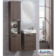 Fackelmann RONDO Badmöbel Set Gäste-WC Eiche-Optik (2-teilig) - Waschbecken links