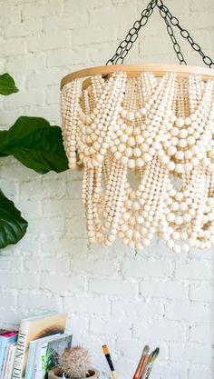 DIY Bead Chandelier #beadchandelier #chandelier #woodenbeads