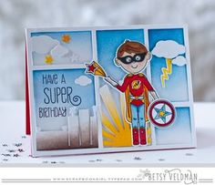 Super Birthday Card by Betsy Veldman for Papertrey Ink (March 2016) - love the scene building