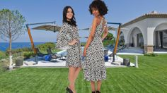 Montauk print black and white geometric print sun dresses