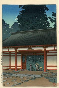 Artist: HASUI, KAWASE (1883-1957) Title: STARRY NIGHT AT TSUBOSAKA TEMPLE, NARA Dated: 1950 (later edition) Publisher: Watanabe Seals: Red Sui & Heisei