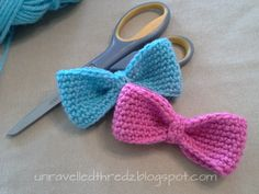 blue and pink crocheted bows