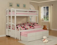 Bedroom, Kids Room Idea For Girl Focus On Wonderful White Bunk Bed With Trundle And Polka Dot Bedding ~ Bunk Beds With Trundle For Multifunctional Ideas