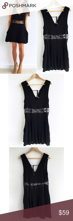 """Free People Summer Feeling Fit & Flare Black Dress Free People Summer Feeling Fit & Flare Black Dress! This dress gives you and effortless edgy look! Super comfortable and flowy. Excellent condition. Plunge neckline. Sheer mesh waist. Invisible hip pockets. 100% rayon. Lined. Black tie back closure. Chest-36"""" waist-35"""" hips-46"""" length-35"""" size large Free People Dresses Mini"""