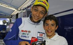 A young Marc Marquez with his idol Valentino Rossi