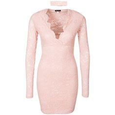 Choker Lace Dress (225 PLN) ❤ liked on Polyvore featuring dresses, pink cocktail dress, lace dress, pink dress, pink lace dress and lacy dress
