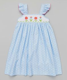 Love this Blue Smocked Flowers Angel-Sleeve Dress - Toddler & Girls by Petite Palace on #zulily! #zulilyfinds