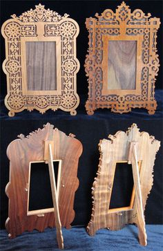 Two French mirror frames, scroll saw fretworked frames for mirrors or pictures