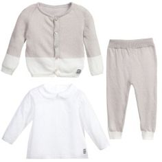 Minutus - Baby Pale Grey & White 3 Piece Outfit Set  | Childrensalon