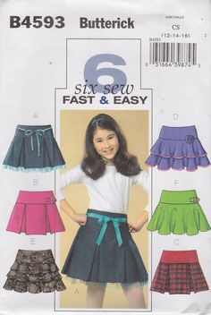 Butterick Sewing Pattern 4593 Girls Size 12-14-16 Easy Pleated Layered Tiered Yoke Skirt   Butterick+Sewing+Pattern+4593+Girls+Size+12-14-16+Easy+Pleated+Layered+Tiered+Yoke+Skirt