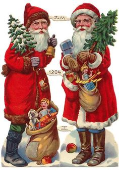 Vintage Santa with Toys Scraps ~ Germany ~ Vintage ~ Half Sheet Vintage Christmas Images, Christmas Scenes, Old Fashioned Christmas, Christmas Past, Victorian Christmas, Father Christmas, Vintage Images, Christmas Journal, Xmas