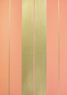 Bothwell Wallpaper Gold stripes on a coral background.