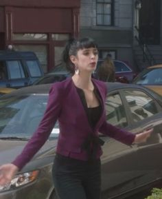 Robert Rodriguez Short Bow Jacket- worn by Chloe on Don't Trust the B in Apartment 23- great color, and the style is really unique