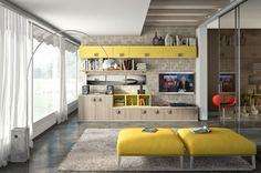 armoire salon avec des éléments jaunes
