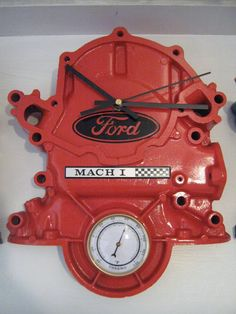 Ford Timing Cover reloj con termómetro por DansCustomClocks