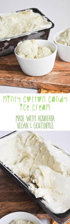 Vegan Minty Cotton Candy Ice Cream (made with Aquafaba) via @elephantasticv