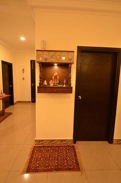 10 Traditional Pooja Room Designs From a Designer Pooja Room Door Design, Bedroom Door Design, Home Room Design, House Design, Indian Room Decor, Indian Interior Design, Modern Interior, Temple Design For Home, Mandir Design