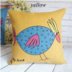 Creative yellow bird throw pillows for couch cheap animal print pillows