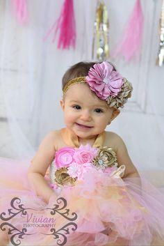 Cumpleaños de rosa y oro Tutu vestido rosa y oro 1er
