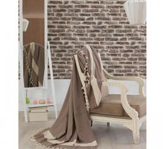 Cuvertura Double Maro Leh, Lounge, Couch, Blanket, Furniture, Home Decor, Natural, Chair, Airport Lounge