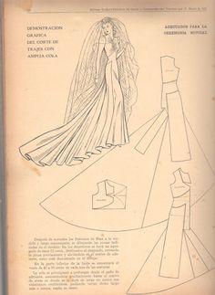 Vintage bridal gown sewing pattern - Marti Costura - costurar com amigas - Picasa Web Albums Wedding Dress Patterns, Vintage Dress Patterns, Barbie Patterns, Dress Sewing Patterns, Clothing Patterns, Doily Patterns, Dress Wedding, Pattern Cutting, Pattern Making