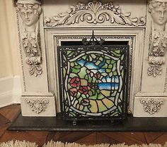 The Kummerow's Faux Stain Glass Fire Screen Mosaic Glass, Stained Glass, Pagan Witch, Small World, Dollhouse Furniture, Candlesticks, Dollhouse Miniatures, Mystic, Dollhouses