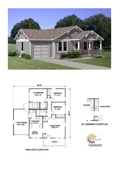 Bungalow House Plan 94374 | Total Living Area: 1064 sq. ft., 3 bedrooms and 2 bathrooms. #bungalowhome