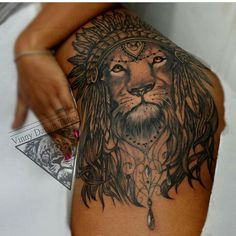 55 Sexy Tattoo Designs For Women Dope Tattoos, Leo Tattoos, Body Art Tattoos, Turtle Tattoos, Tribal Tattoos, Sleeve Tattoos, Lion Tattoo On Thigh, Hip Thigh Tattoos, Floral Thigh Tattoos