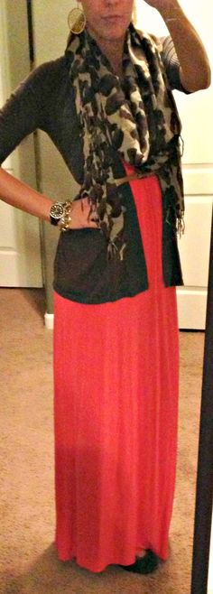 Wear maxi dress in the colder temps: Belted cardi over maxi dress + scarf.