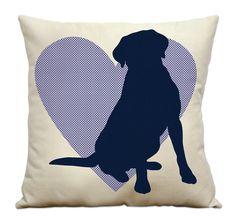 Labrador Silhouette 16 Pillow    Natural Cotton by DogCityandCo, $25.00