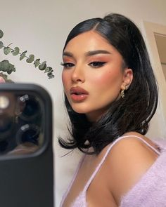 @khelan.mh serving looks! 🤩 ⠀ ⠀ products used: ⠀ 💗 individual lash trios ⠀ 👄 nude attitude lip liner ⠀ ⠀ Cute Makeup, Pretty Makeup, Makeup Looks, Huda Beauty, Beauty Makeup, Hair Makeup, Baddie Makeup, Baddie Hairstyles, Cute Hairstyles