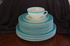 Vintage 1950's Pyrex Aqua / Turquoise Band Milk Glass Dish by ItsyBittyShop, $30.00