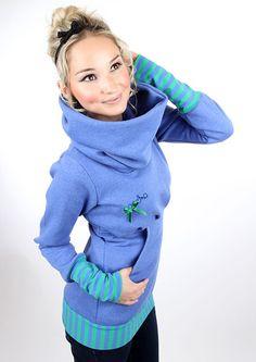 """Hoodies - MEKO """"Kuschl"""" Hoodie Blau Damen Schleife - ein Designerstück von meko…"""
