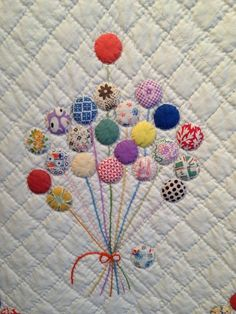 Historic Quilt: Detail, The Balloon Quilt, maker unknown, circa Donated by Olga Keesling. Courtesy the Latimer Quilt & Textile Center. Photo by Hunter's Design Studio. La Conner Quilt & Textile Museum – and Collage giveaway reminder! Quilt Baby, Baby Quilt Patterns, Applique Patterns, Applique Designs, Cot Quilt, Circle Quilts, Mini Quilts, Quilt Blocks, Antique Quilts