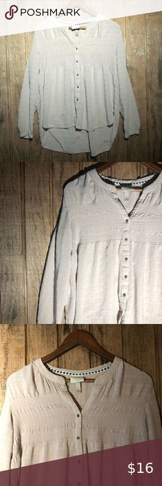 Cream Crinkle Finish Peasant Shirt Boho Chic Vintage 1970s Size M Scoop Neck Blouse