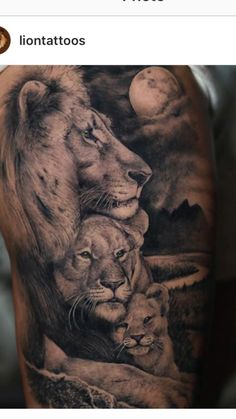 Lion Family Tattoo - Best Lion Tattoos For Men: Cool Lion Tattoo Designs and Ideas For Guys Lioness And Cub Tattoo, Lion Cub Tattoo, Lion Tattoo Meaning, Mens Lion Tattoo, Lion Tattoo Design, Tattoos With Meaning, Female Lion Tattoo, Lion Tattoos For Men, Lion Tattoo Girls
