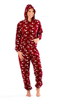 Star print ladies onesie, stay warm and snuggly all winter.  Really soft onesie with a kangaroo pocket and hood. In sizes 8-22. £20