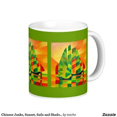 Chinese Junks, Sunset, Sails and Shadows Coffee Mug