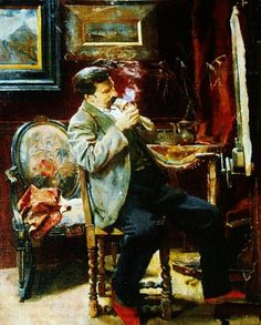 The pipe smoker paint by the Belgian artist Henri De Smeth (1865-1940) - Musée des Beaux-Arts de Tournai (Belgium) - Style:Realism
