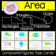 Questions have been designed to lead students to understand why we use a specific formula when we calculate the surface area of compound shapes. The task cards include calculating area of compound shapes that consists of rectangles, squares, triangles, trapezoids and circles. 12th Maths, Cooperative Learning, Student Engagement, Surface Area, Task Cards, Teacher Resources, Mathematics, Lesson Plans, Circles