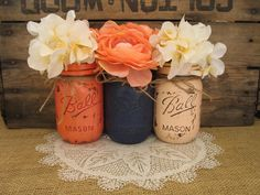 Mason Jars, Decorative Mason Jars, Wedding Centerpieces, Teacher appreciation Gift, Coffee Table Home Decor, Coral And Navy Vases