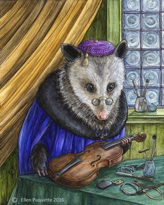 "This limited edition, archival signed print of a Renaissance possum building a violin in his workshop is titled The Luthier. (The original piece is acrylic on gessoed panel.) • 8"" x 10"" exterior paper dimension, 7 3/4"" x 9 3/4"" image size • Epson Ultra Chrome archival inks • Epson Enhanced Matte Paper (acid free) • Signed and numbered by the artist NOTE: The copyright watermark will not appear on your print. Keep out of direct sunlight for long life and color durability"