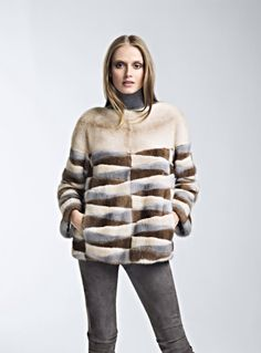 Pearl, Scanglow and Silberblue Mink Fur Jacket